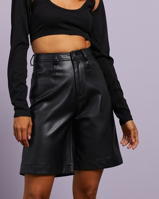 Dazie - Women's Black High-Waisted - Pioneer Longline PU Shorts - Size 6 at The Iconic