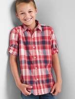 Gap Plaid poplin convertible shirt