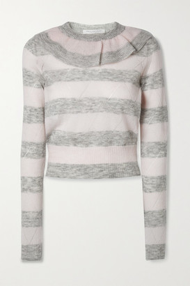 Philosophy di Lorenzo Serafini Ruffled Striped Pointelle-knit Mohair-blend Sweater
