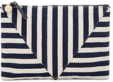 Clare Vivier Patchwork Flat Clutch in Navy.