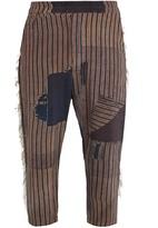 BY WALID Morton Boro-print cropped silk trousers