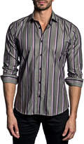 Jared Lang Semi-Fitted Shiny Shadow-Stripe Sport Shirt