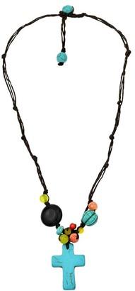 Aeravida Handmade Multicolor Cross Turquoise&Semiprecious Stones Necklace
