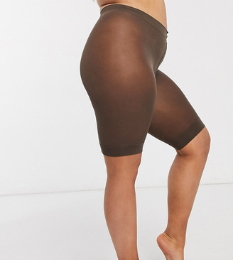 Asos DESIGN Curve anti-chafing shorts-Brown