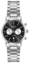 Rotary Gb02730/04 Sports Avenger Chronograph Stainless Steel Bracelet Strap Watch, Silver/black