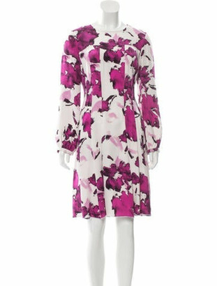 Oscar de la Renta Wool Midi Dress Purple