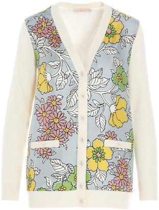 Tory Burch V-Neck Floral Knitted Cardigan