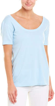 Three Dots Double Scoop Neck T-Shirt