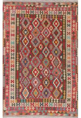 """Rugsource One-of-a-Kind Persian Turkish Handwoven Flatweave 6'5"""" x 9'10"""" Wool Red Geometric Area Rug Rugsource"""