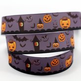 "Midi Ribbon 7/8"" 50 Yds/Roll Happy Halloween Series Print Ribbon-Hair Bow Hair Clip Accessories Making Supplies,Gift Card Party Decoration Fabric Tape"