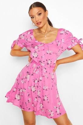 boohoo Floral Tie Sleeve Detail Skater Dress
