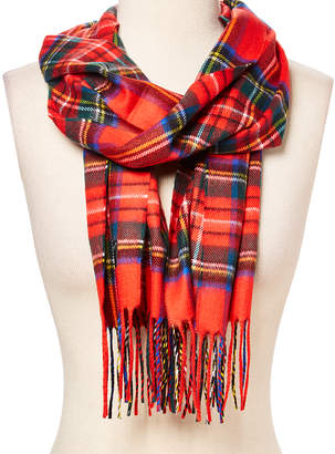 Softer Than Cashmere Cold Weather Scarves RED - Red & Yellow Plaid Fringe-Hem Scarf - Adult