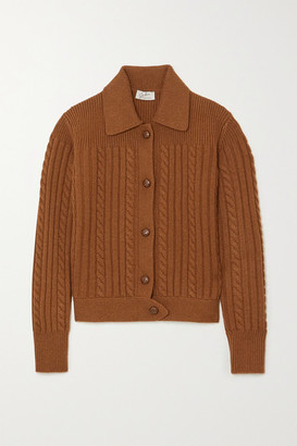 Giuliva Heritage Collection Net Sustain The Teresa Cable-knit Wool And Cashmere-blend Cardigan - Light brown