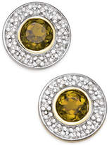 Macy's Smoky Quartz (1/2 ct. t.w.) and Diamond Accent Stud Earrings in 14k Gold and Rhodium Plate