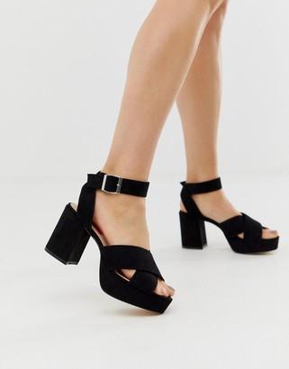 London Rebel platform heeled sandals-Black