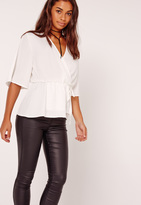 Missguided Satin Elastic Waist Tie Front Blouse White