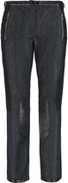 Rag & Bone Stretch-knit and leather-paneled low-rise boyfriend jeans
