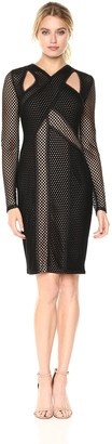 BCBGMAXAZRIA Azria Women's Jaylynn Mesh Cutout Knit Dress