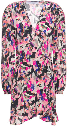 IRO Bloomy Printed Crepe De Chine Mini Wrap Dress