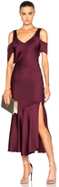 Prabal Gurung Hammered Satin Draped Shoulder Dress