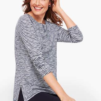 Talbots Side Zip Raglan Stripe Pullover