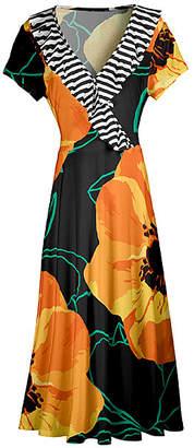 Lily Women's Maxi Dresses BLK - Black & Gold Floral Stripe Ruffle-Trim Surplice Maxi Dress - Women & Plus