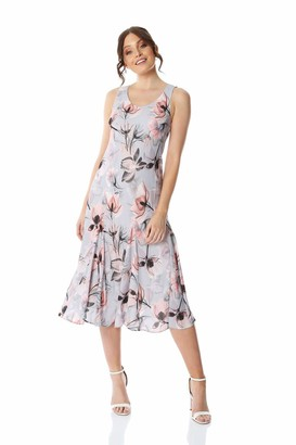 Roman Originals Womens Floral Bias Cut Godet Dress - Ladies Fit and Flare Formal Occasion Wedding Guest Graduation Smart Casual Everyday Wear Dresses - Grey - Size 12