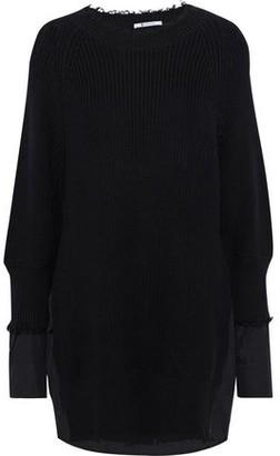 Alexander Wang Layered Distressed Ribbed-knit And Cotton-blend Poplin Mini Dress
