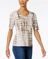 Karen Scott Printed V-Neck T-Shirt, Only at Macy's