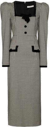 Alessandra Rich Gingham Wool Puff Sleeve Dress