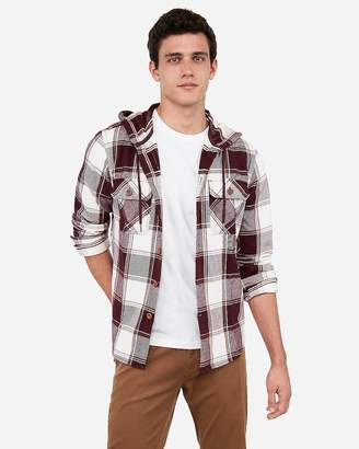 Express Plaid Hooded Flannel Shirt