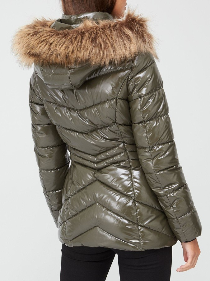 Thumbnail for your product : Very Short High Shine Padded Coat - Olive
