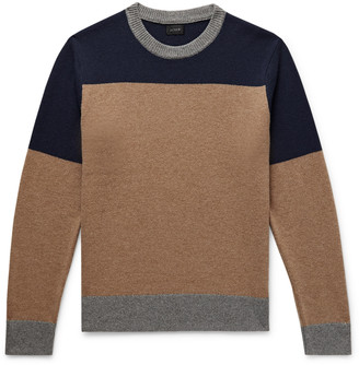 J.Crew Colour-Block Merino Wool-Blend Sweater