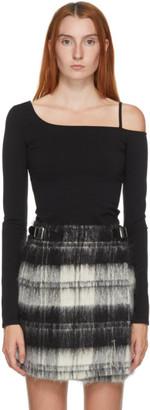 Helmut Lang Black One Shoulder T-Shirt