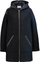 Alexander Wang Leather-trimmed striped wool-blend hooded jacket