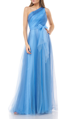 Carmen Marc Valvo One-Shoulder Two-Tone Tulle Gown