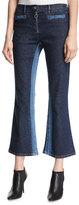 Courreges Cropped Flare-Leg Denim Pants, Blue