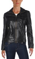MICHAEL Michael Kors Womens Petites Leather Pockets Motorcycle Jacket