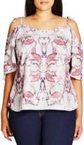 City Chic 'Flutter Mystery' Print Tie Shoulder Top (Plus Size)