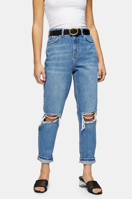 Topshop Womens Petite Mid Stone Rip Mom Tapered Jeans - Mid Stone
