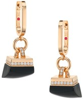 Roberto Coin Sauvage Prive 18K Rose Gold, Black Jade & Diamond Pave Charm Hoop Earrings