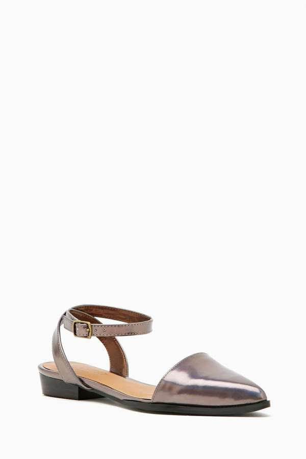 Nasty Gal Shoe Cult Heir Flat - Pewter