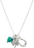 Murano Martick Horseshoe Clover and Heart Pendant Necklace, Silver/Green