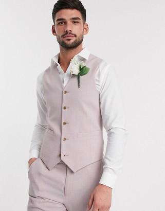 ASOS DESIGN wedding skinny suit waistcoat in crosshatch in rose pink