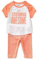 Under Armour Baby Girls 12-24 Months Wake Up Awesome Raglan Tee & Printed Capri Leggings Set