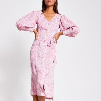 River Island Womens Pink long sleeve printed midi dress