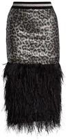 Le Superbe Marmont Sequin Leopard Fringe Feather Pencil Skirt