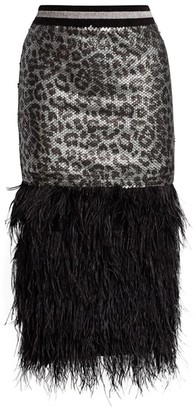 le superbe Marmont Sequin Leopard Fringe Feather Pencil Skirt
