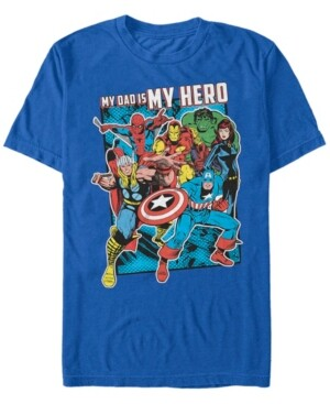 Marvel Men's Comic Collection My Dad Is My Hero Short Sleeve T-Shirt