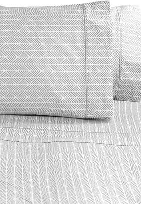 Melange Home Queen 400 Thread Count Cotton Arrow Sheet 4-Piece Set - Grey